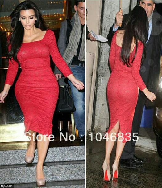 dress red dress kim kardashian dress