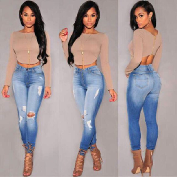 jeans ripped jeans skinny top shirt heels shoes