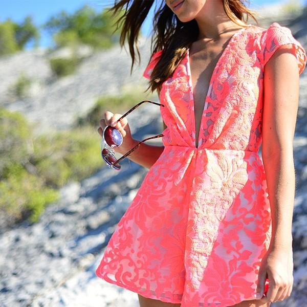 dress neon romper ici fashion cameo clothing romper v neck dress icifashion summer jumpsuit