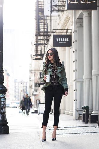 wendy's lookbook blogger top jacket blouse bag shoes sunglasses jewels black pants high heel pumps green jacket