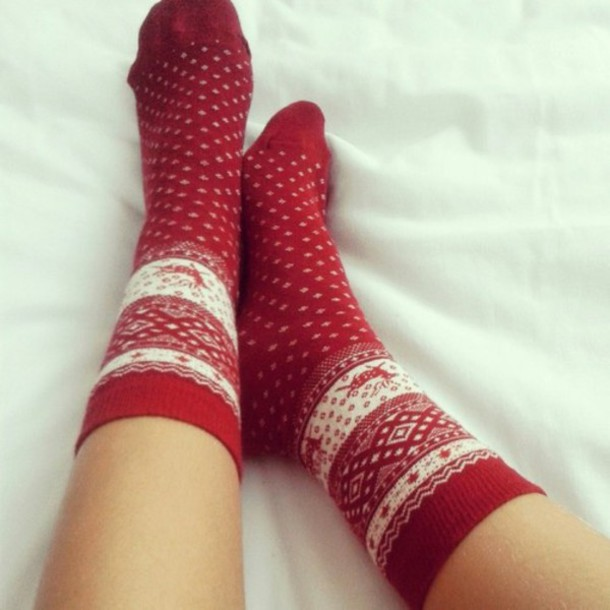socks red winter outfits christmas