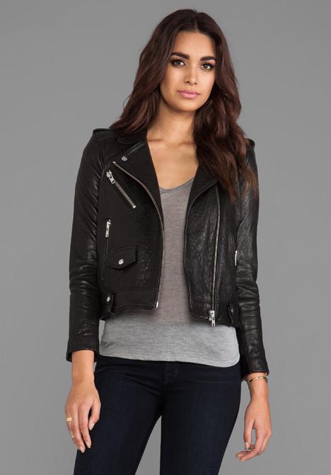 IRO Ebeyna Leather Moto in Black - IRO