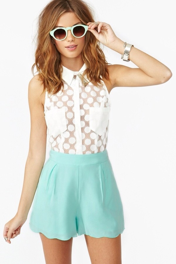 blouse shorts sunglasses shirt