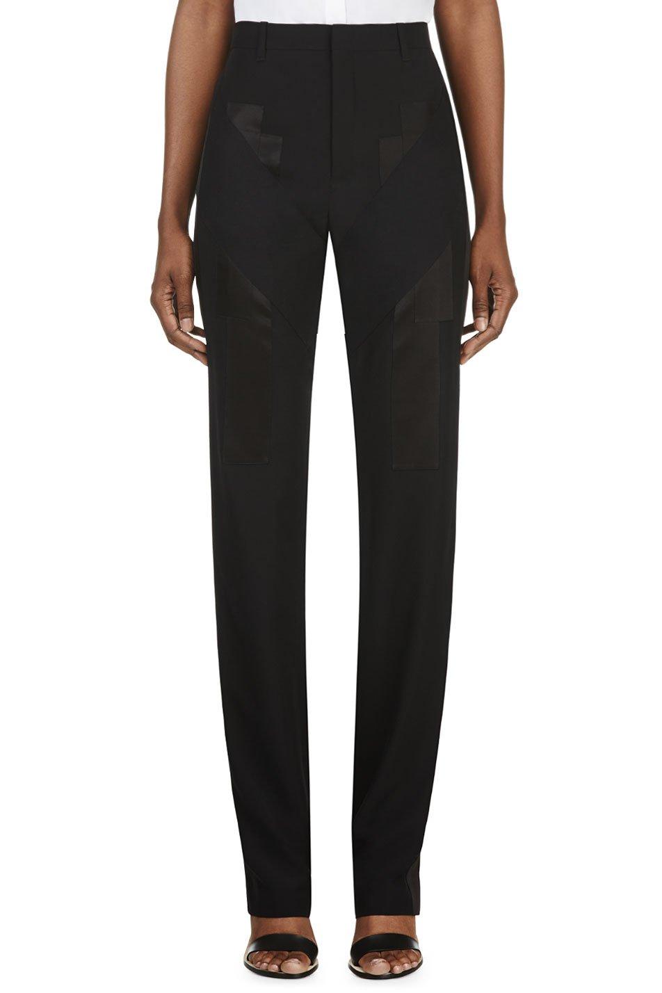 givenchy black satin appliqu trousers