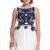 ROMWE | ROMWE Blue Ribbon Embroidered Sleeveless White Dress, The Latest Street Fashion