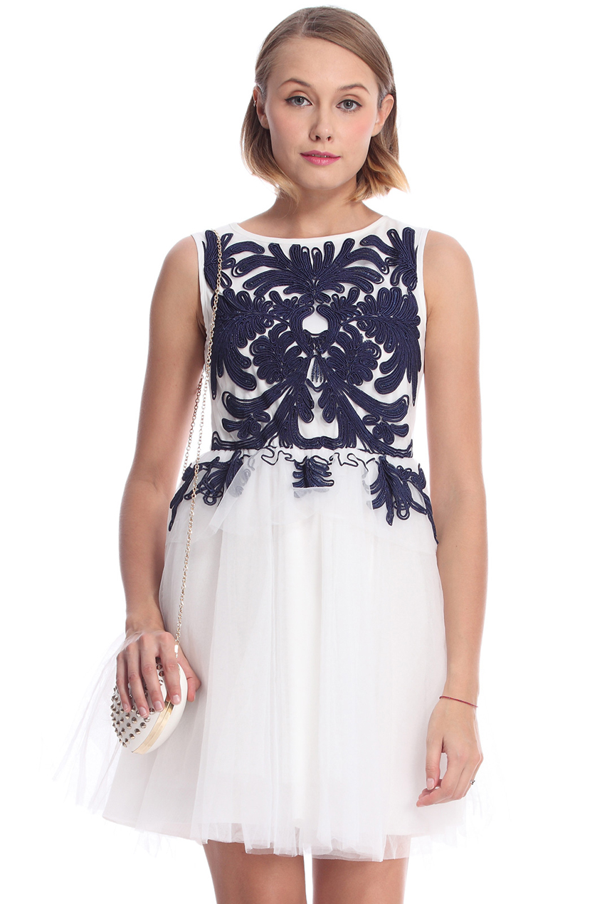 ROMWE | ROMWE Blue Ribbon Embroidered Sleeveless White Dress, The Latest Street Fashion