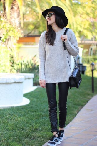 frankie hearts fashion blogger hat leather pants grey sweater sneakers