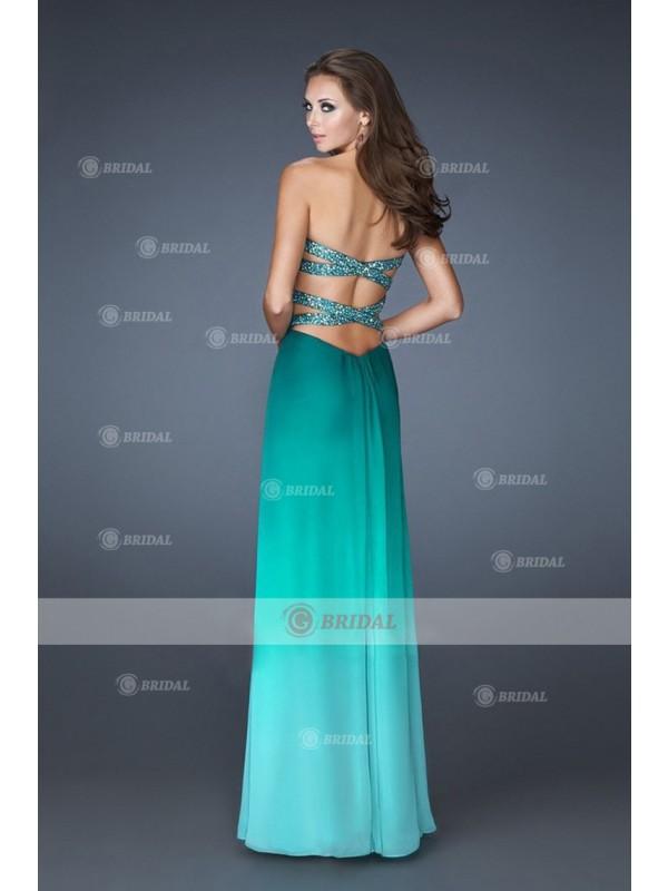A-Line Sweetheart X-back Natural Chiffon Sleeveless Prom Dresses