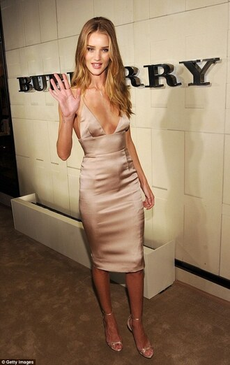 dress silk nude rose gold gold sandals nude slip dress satin dress slip dress nude dress bodycon dress cocktail dress rosie huntington-whiteley heels nude heels sandals nude sandals celebrity style celebrity