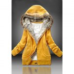 Wholesale Hooded Fashionable Style Pockets Beam Waist Solid Color Long Sleeves Cotton Coat For Women (YELLOW,2XL), Jackets & Coats - Rosewholesale.com