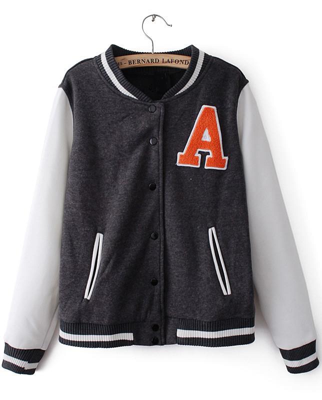 Grey Contrast Long Sleeve A Pattern Jacket - Sheinside.com
