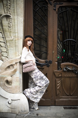 miss pandora blogger bag beret wide-leg pants printed pants pants top