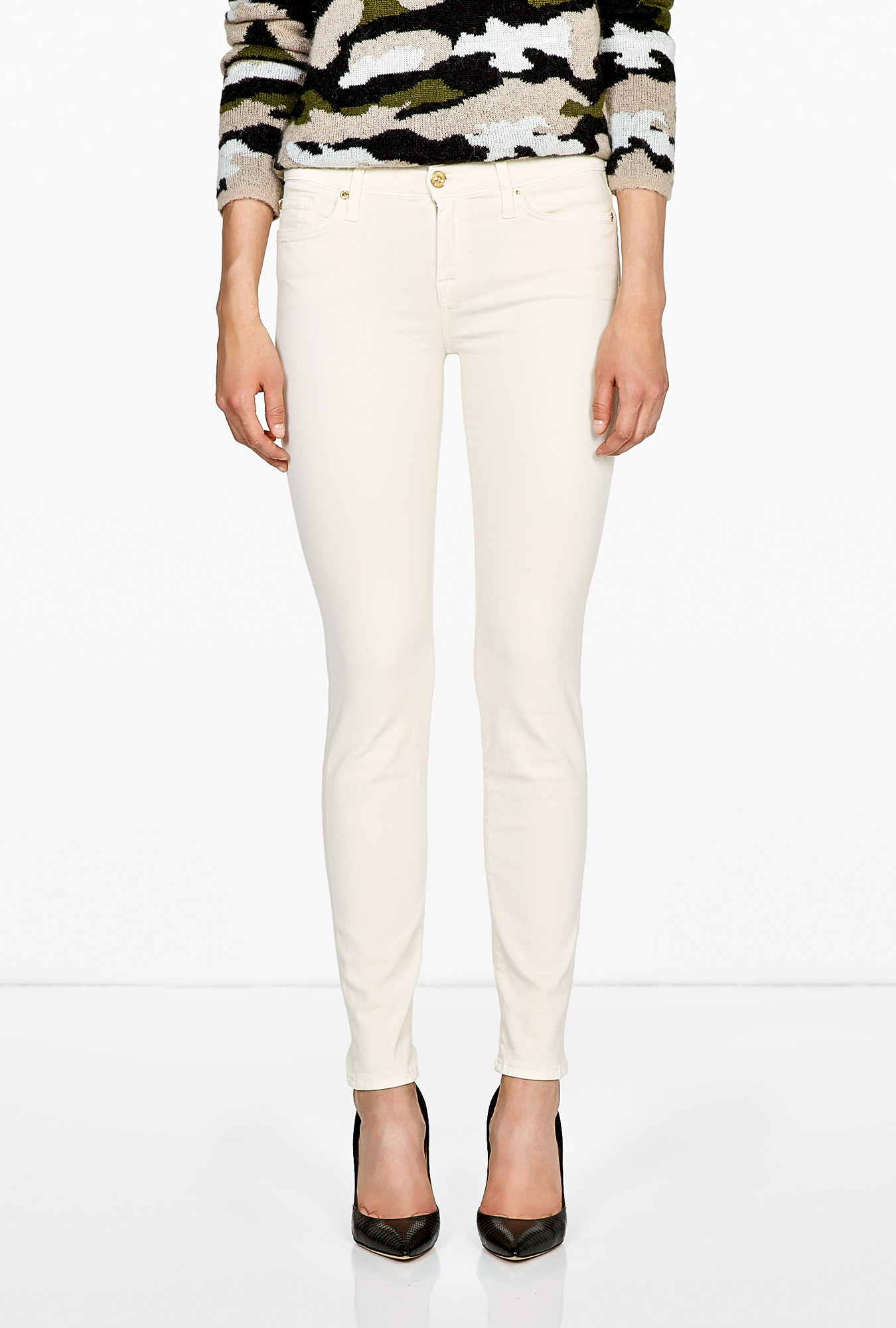 7 For All Mankind   Antique White Skinny Slim Illusion Jeans by 7 For All Mankin
