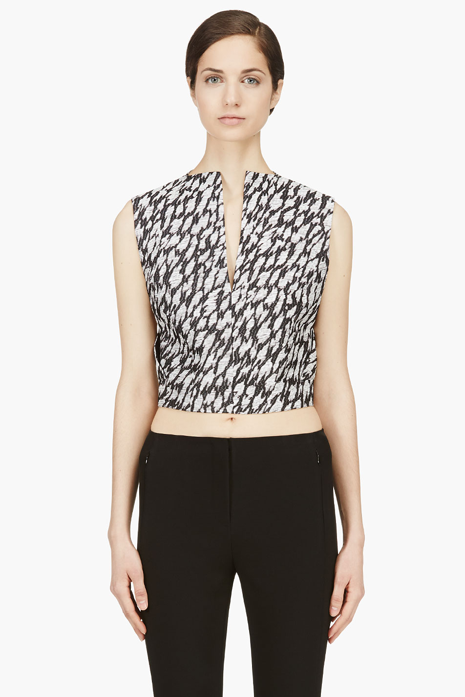 mugler black and white leopard jacquard crop top