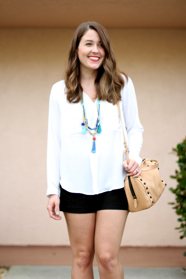 sequins and stripes blouse shorts jewels bag shoes