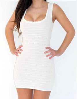 Ivory White Square Neck Bodycon Bandage Dress - £64.99 : Bodycon Boutique - Bodycon Dresses | Bodycon Dress | Bandage Dresses | Mini Dresses
