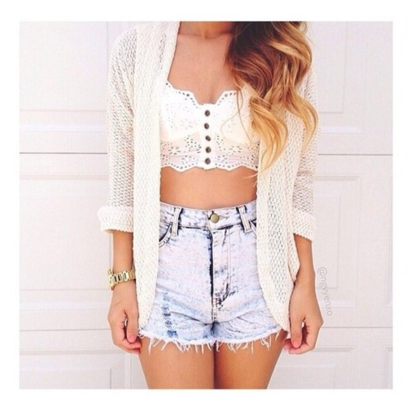 shorts blue denim shorts top cardigan blouse white cute