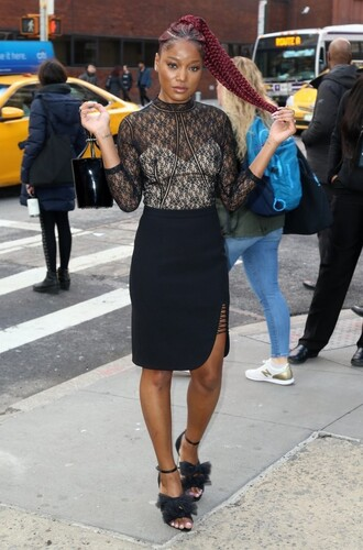 top blouse lace lace top skirt black sandals keke palmer