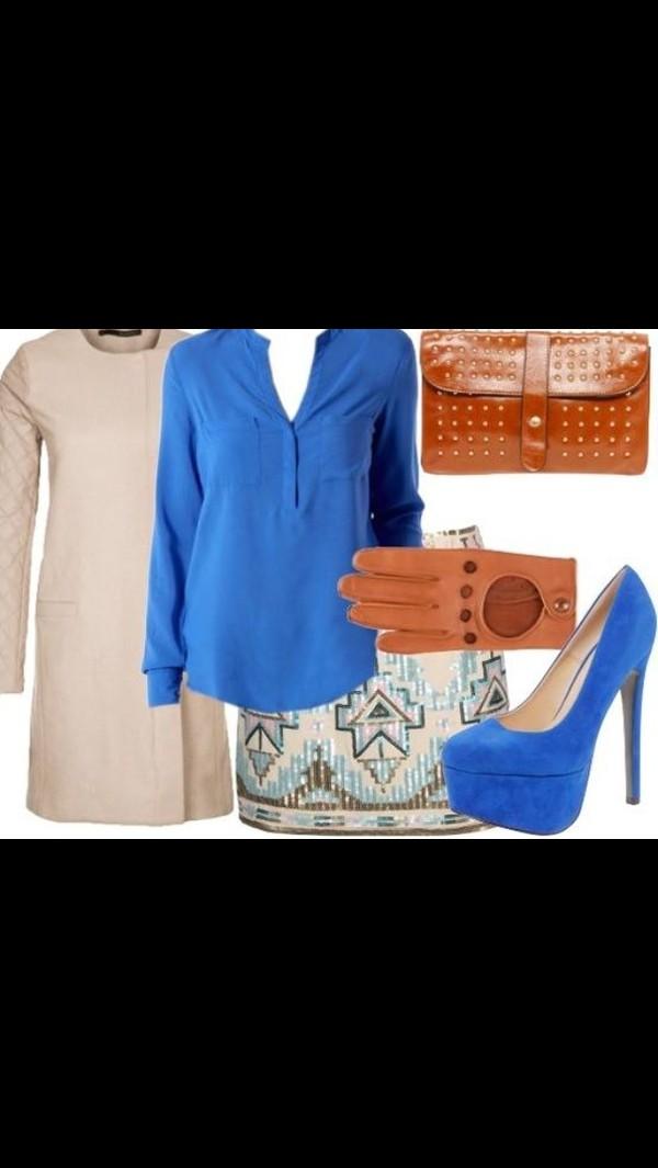 shoes cream beaded skirt blue high heels