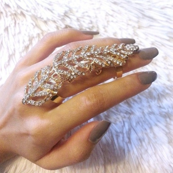 jewels feather ring the bling ring large ring gold ring nails lovely diamond ring finger jewels