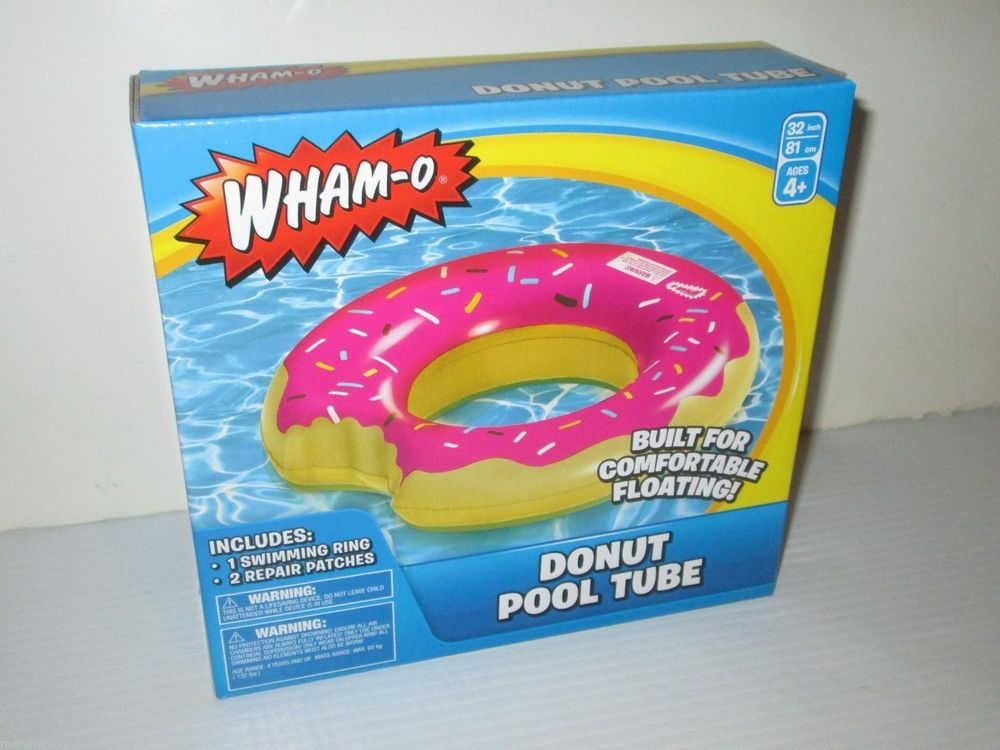 "Wham O Brand Pink Donut Swimming Pool Float Tube Doughnut Fake Food 32"" Boxed 