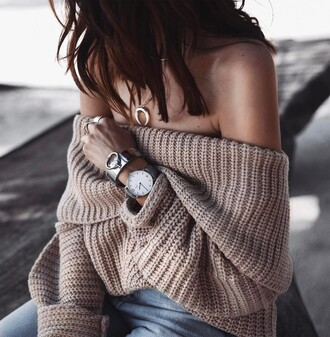 sweater tumblr beige sweater off the shoulder off the shoulder sweater oversized sweater oversized necklace jewels jewelry bracelets silver bracelet cuff bracelet watch denim jeans blue jeans ring