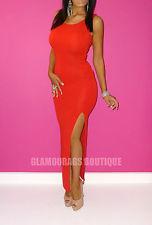 NEW NAOMI GLAM RED LOWER BACK SIDE SPLIT FULL LENGTH MAXI DRESS.SIZE 8 10 12 14 | eBay