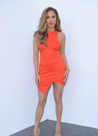 dress orange summer dress midi dress orange dress jennifer lopez jennifer lopez orange lipstick orange lips summer outfits summer bodycon bodycon dress racerfront racer racer dress
