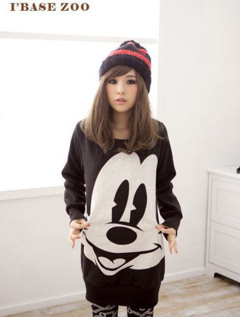 East Knitting AA 072 2013 Fashion Women New Tops Ladys Cartoon Mickey Mouse Print Hoodies Plus Size 3color Free Shipping-in Hoodies & Sweatshirts from Apparel & Accessories on Aliexpress.com