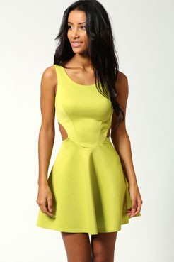 Ashley Cut Out Sides Skater Dress at boohoo.com