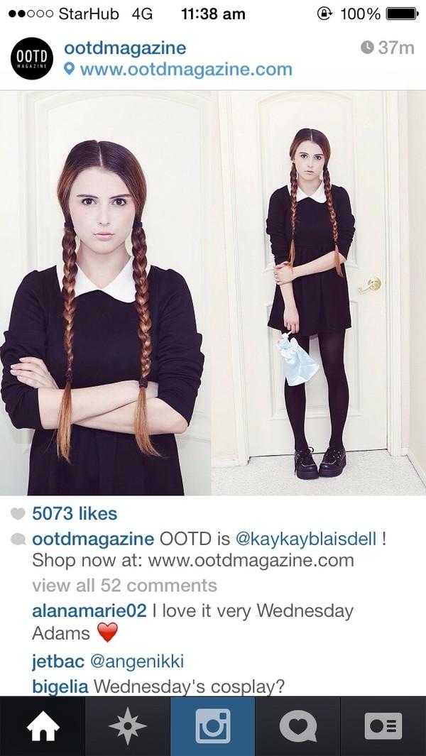 dress peterpan collar plaids black white girl school girl