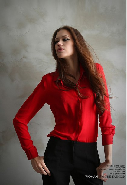 top red top t-shirt chiffon top fashion style