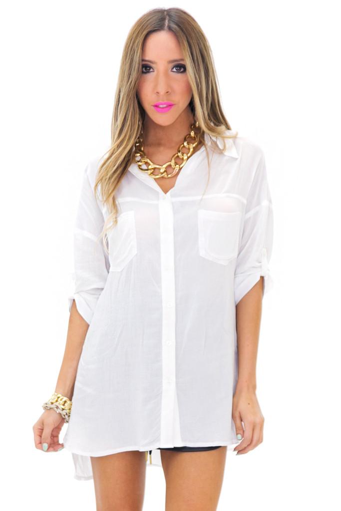 GRAYSON BUTTON-UP DRESS SHIRT - White   Haute & Rebellious