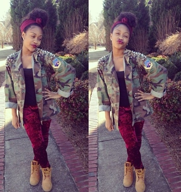 jacket forever 21 spikes camo jacket instagram oversized timberlands jeans shoes