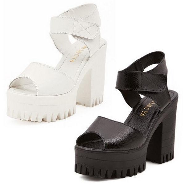 Peep TOE Womens Block Heels Platform Chunky Velcro Genuine Leather Shoes Sandals   eBay