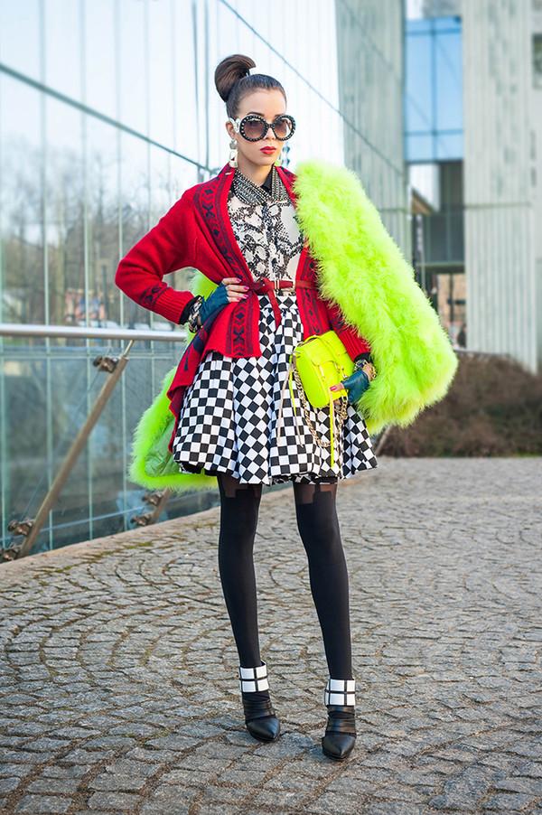 macademian girl coat sweater t-shirt skirt shoes bag sunglasses jewels