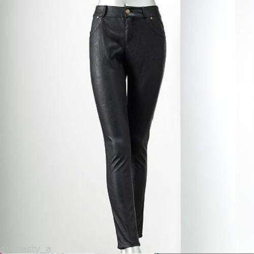 Simply Vera Wang Buttery Soft Faux Leather Skinny Pants Mid Rise Size 2 Black NW | eBay