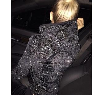 jacket black jacket bling women jacket black sparkle women hoodie jacket philip plein sweater brand skeleton hoodie sweatshirt grey swetashirt glitter swether skull swag blonde hair streetwear streetstyle stylish sporty the blonde salad brooklyn blonde