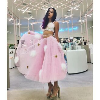 skirt party shop pink tulle skirt peplum white feathers cirles gold sequins heart fashion style trendy los angeles nastygal pink maxi skirt