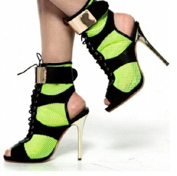 shoes lime black heels lace up
