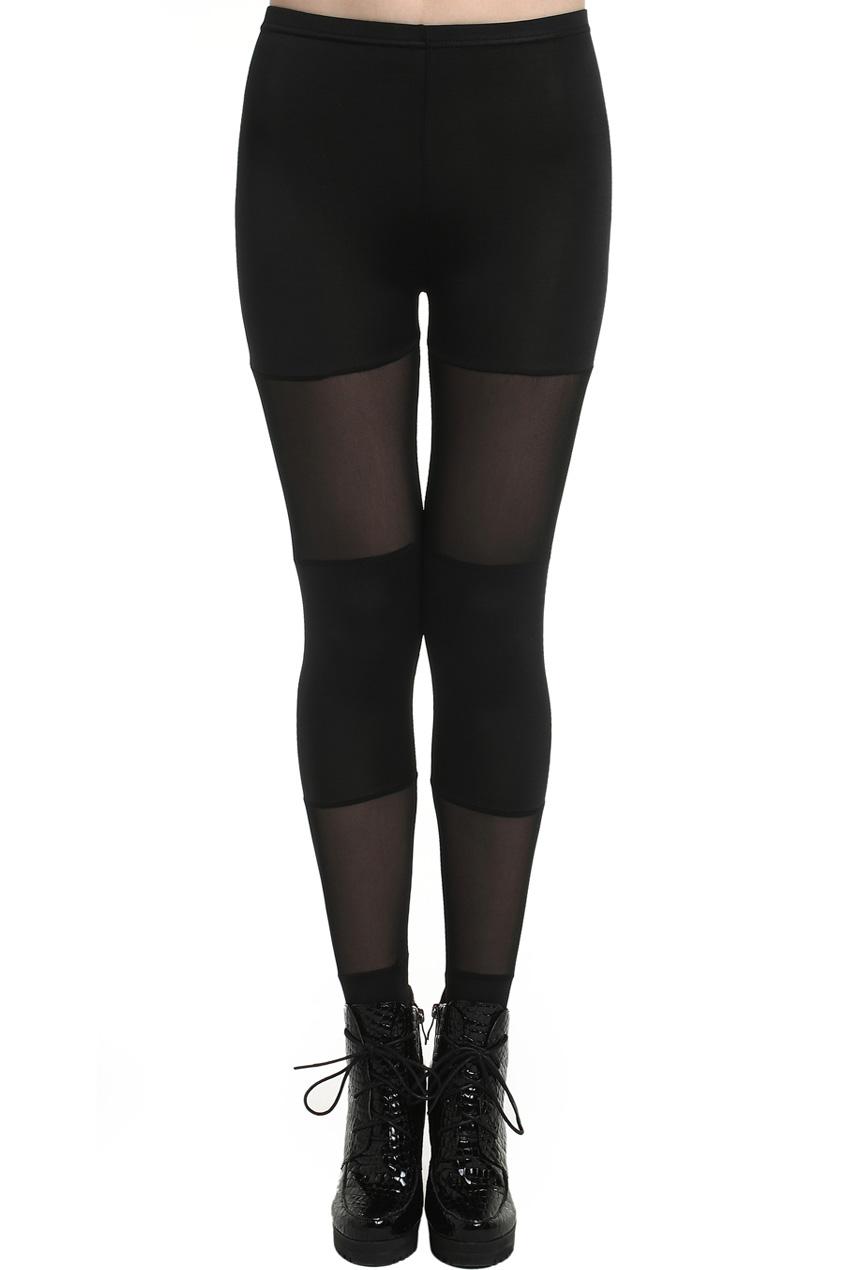 ROMWE | ROMWE Candy Colored Dual-tone Sheer Mesh Black Leggings, The Latest Street Fashion