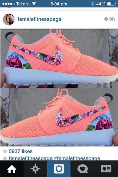 shoes pink peach colour with floral l tick.