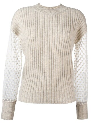 jumper embroidered women nude cotton wool sweater