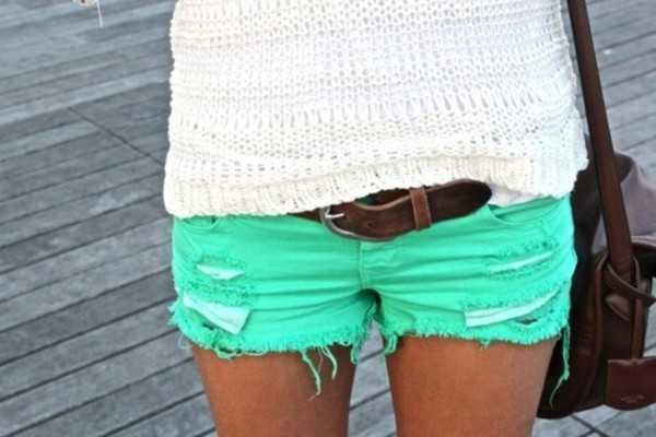 shorts turqoise green like pants pants summer girl tumblr old style bag