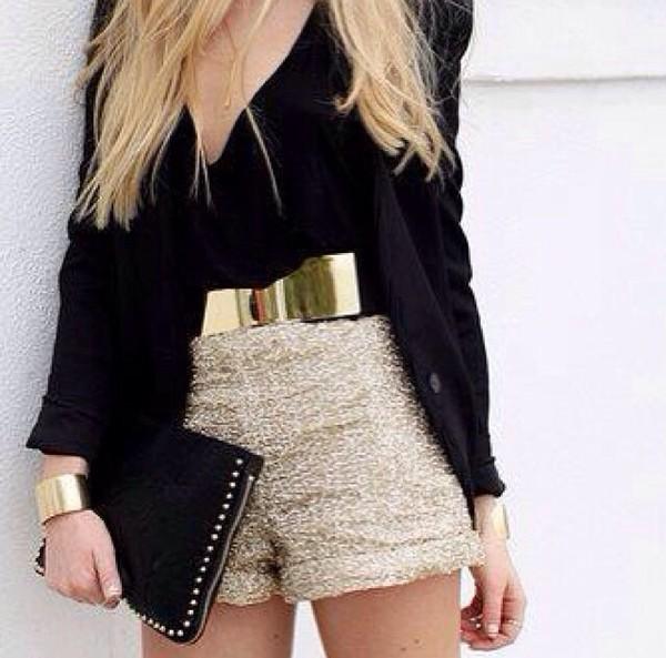 belt metal gold belt shorts