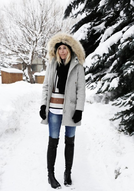 damsel in dior blogger jeans winter coat black boots knee high boots