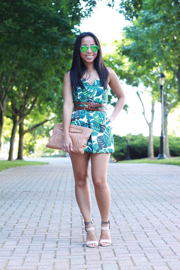 i am khatu romper shoes sunglasses bag belt