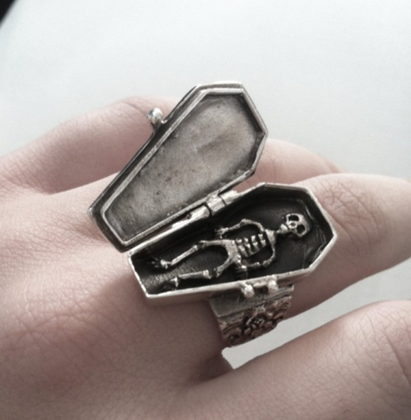 jewels coffin ring casket skeleton halloween