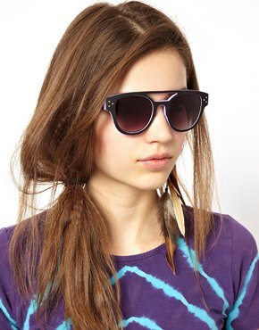 ASOS | ASOS High Bar Color Block Retro Sunglasses at ASOS