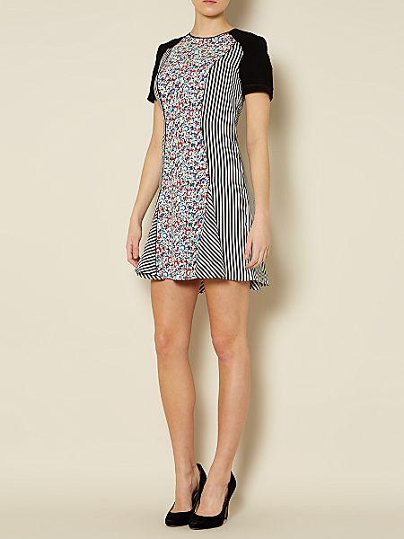 Sportmax Code Miranda short sleeve floral strip flare dress Multi-Coloured - House of Fraser